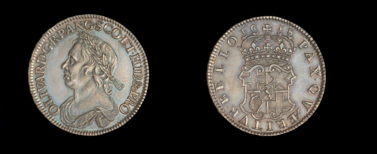 Oliver Cromwell, pattern half crown, 1658