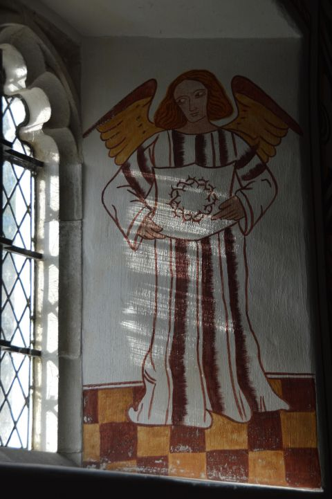 Image: Wall painting of an angel in St Teilo's Chuch