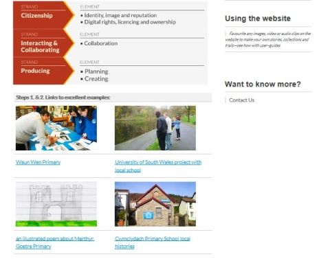 Screen grab of teacher's help pages on People's Collection Wales