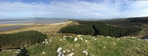 This is a picture fromon top of a hill. You can see the beach, the sea and a woodland area.