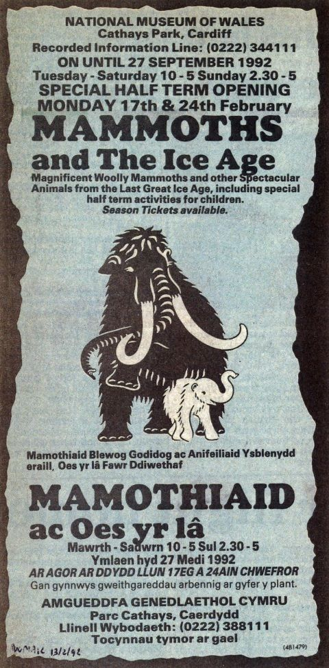 Photograph of newspaper advertisement for the Mammoths and the Ice Age exhibition