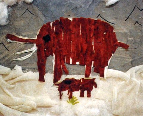 Collage of mother and baby mammoths, made by a child