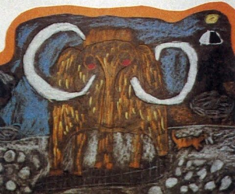 Child's drawing of a mammoth