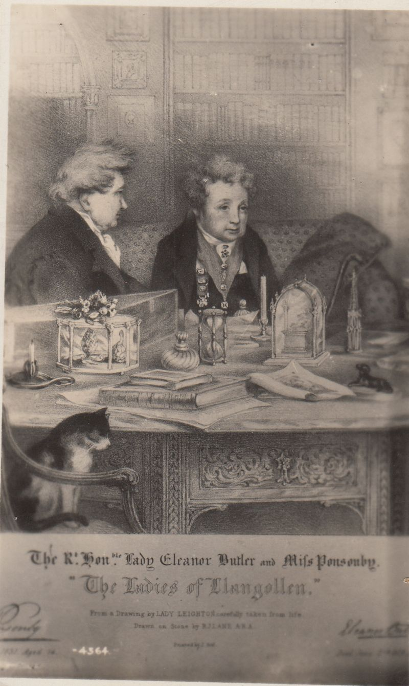Portrait of Lady Eleanor Butler and Sarah Ponsonby, worked from a clandestine sketch made at their Llangollen home. (c) Norena Shopland