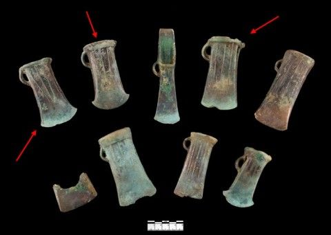 The Colwinston hoard, Vale of Glamorgan, contained three South Wales axes © National Museum Wales
