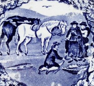 Detail of blue plate showing an illustration of Sarah Ponsonby and Eleanor Butler © Norena Shopland