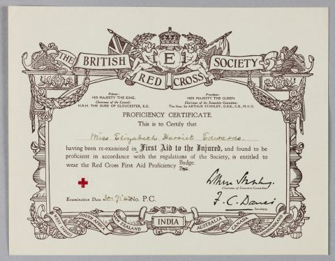 Hetty Edward's Red Cross Society certificate for 'First Aid to the Injured' [1943]