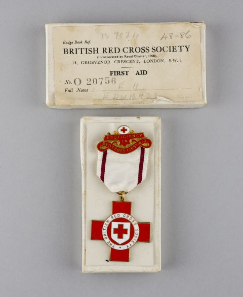 Hetty Edward's Red Cross badge [from the collections at St Fagans National Museum of History]