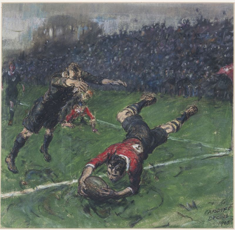 Image in chalk pastel on paper of Welsh rugby player scoring a try against the All Blacks