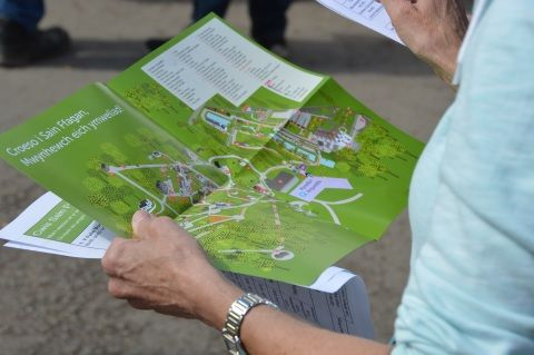 Visitor looking at map of St Fagans