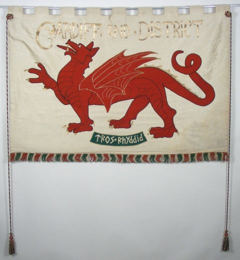 Banner of the Cardiff Cardiff & District Women's Suffrage Society. Made by Rose Mabel Lewis, President of the Society