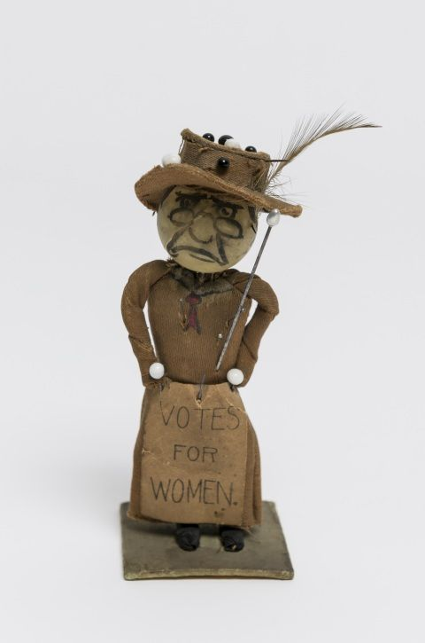Anti-suffrage voodoo doll sent anonymously to a woman in west Wales, early 1900s