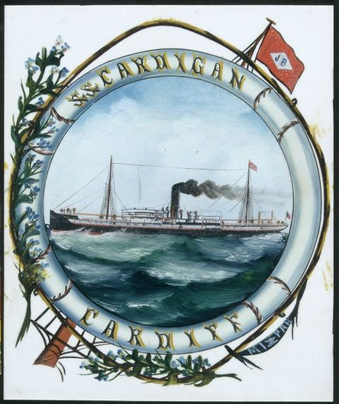 Painting of a ship at sea labelled SS Cardigan