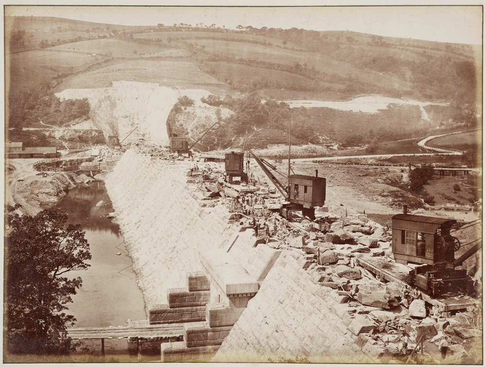 Photograph of the construction of Vyrnwy Dam in 1886