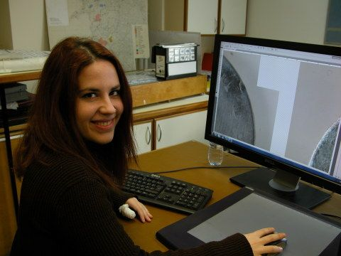Picture of student intern in history and archaeology art department