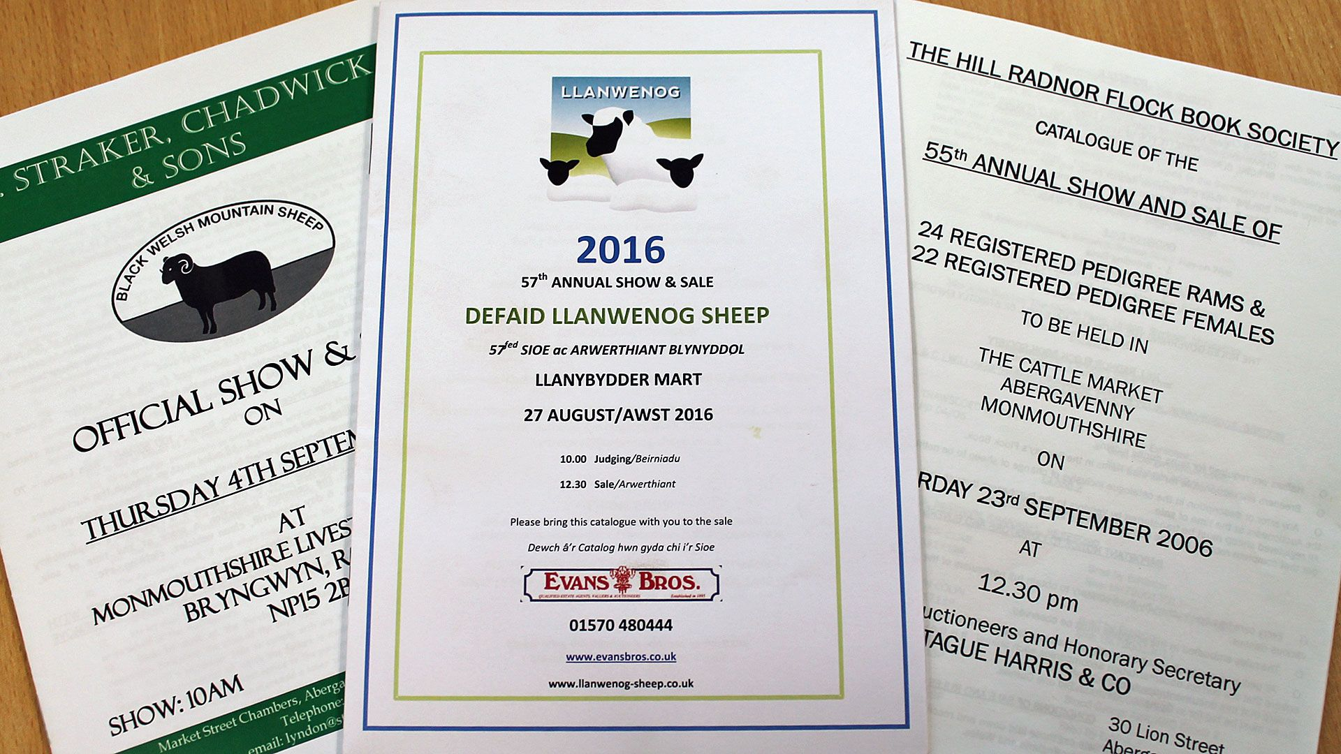 Hill Radnor, Llanwennog and Black Welsh Mountain rare breed sale booklets