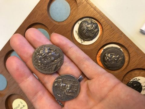 Picture of Ancient Greek coins in the collection at National Museum of Wales, Cardiff
