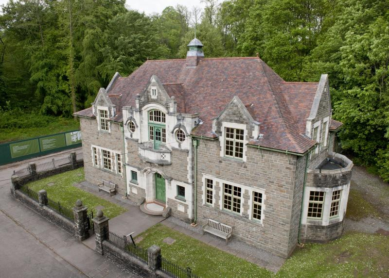 photograph showing aerial view of Oakdale Working Men's Institute at St Fagans National Museum of History