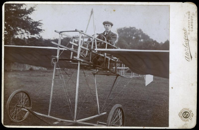 Photograph from 1908 showing Horace Watkins in a very early, precarious-looking monoplane