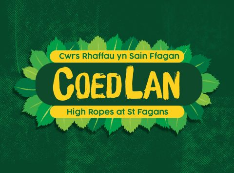 Coedlan, St Fagans High Ropes Course logo, yellow writing on green background