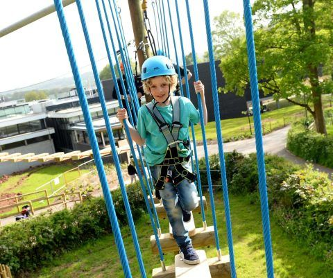 Boy on high ropes course at St Fagans