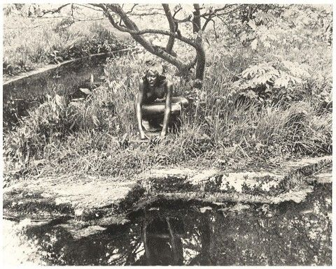 The Elf by Sir William Goscombe John in the grounds of St Fagans circa 1948-49