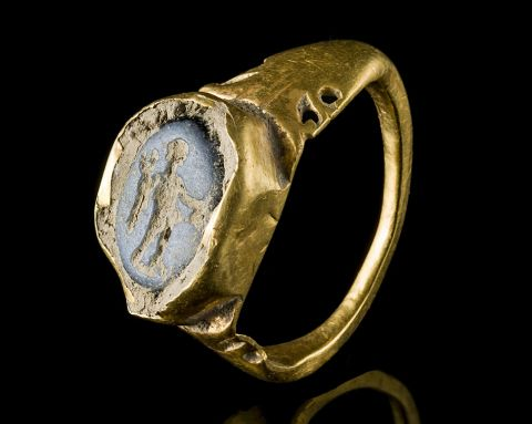 A gold ring with an intaglio depicting the god Mercury