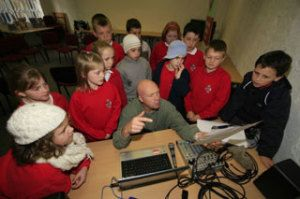 Some of the children putting their rap together with Martin Dawes