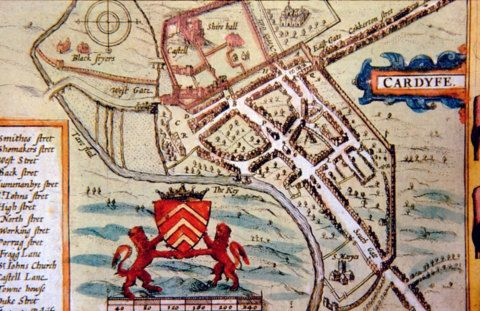 Speed's 1610 map of Cardiff.