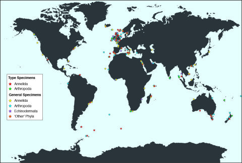 Map showing the countries represented by marine invertebrate specimens in the collection