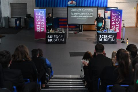Photo of the Science Musuem Outreach team delivering the Soyuz Rocket Show in a school hall