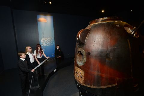 Photo of four children looking at Tim Peake's Spacecraft
