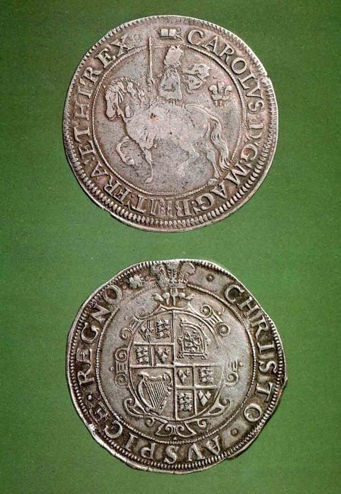 Aberystwyth half-crowns, obverse and reverse. Coins 35 mm in diameter.
