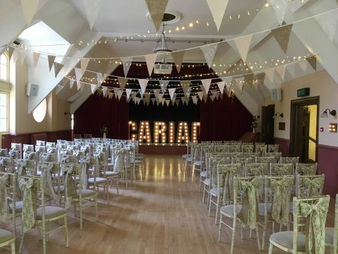 Oakdale hall set up for a wedding ceremony