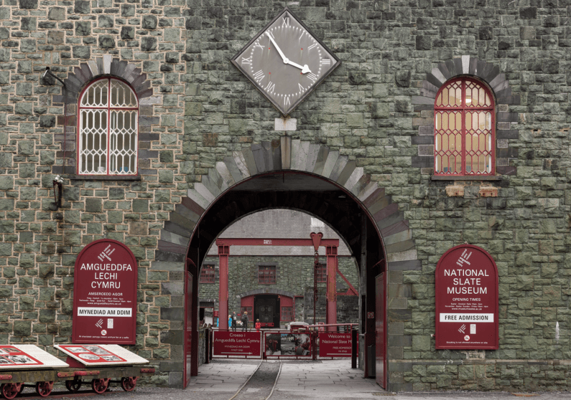 The clock above the entrance to the Welsh Slate Museum