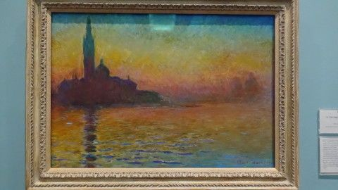 photograph of the Claude Monet painting San Giorgio Maggiore by Twilight, in the gallery at National Museum Cardiff