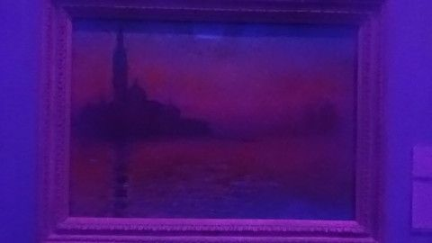 photograph of the Claude Monet painting San Giorgio Maggiore by Twilight viewed through a blue plastic filter