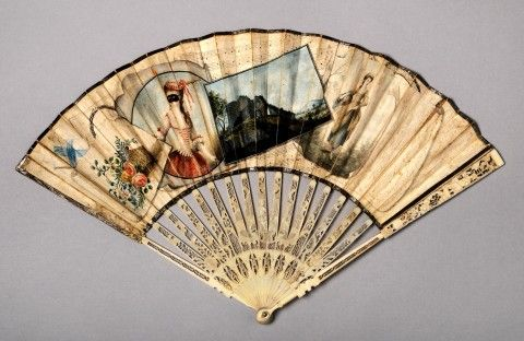 Fan with painted illustration of a masked woman.