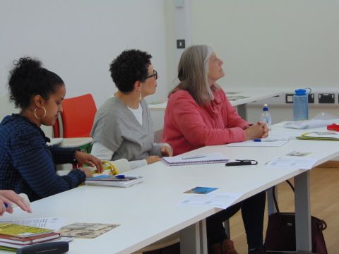 Photograph: Welsh learners at desk