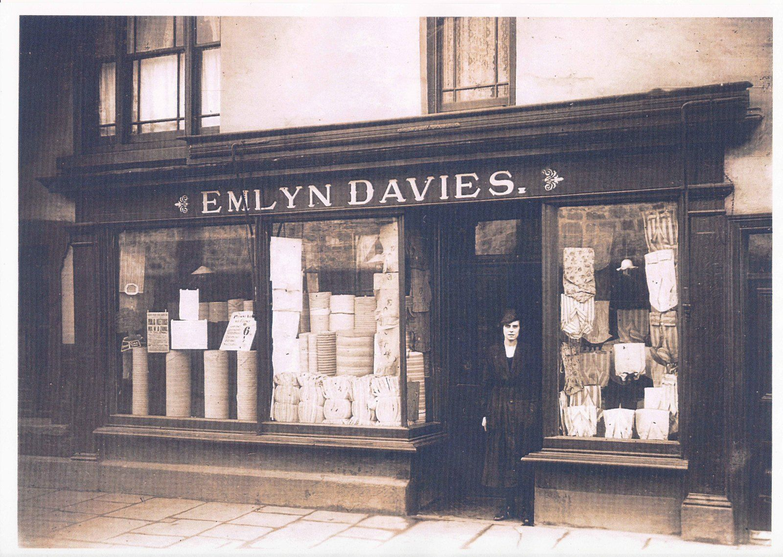 Miriam Davies in front of her father's draper's shop in East Street Dowlais c. 1917