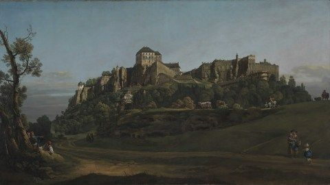 A painting called 'The Fortress of Königstein from the North' by Bernardo Bellotto