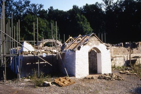 Church during reconstruction