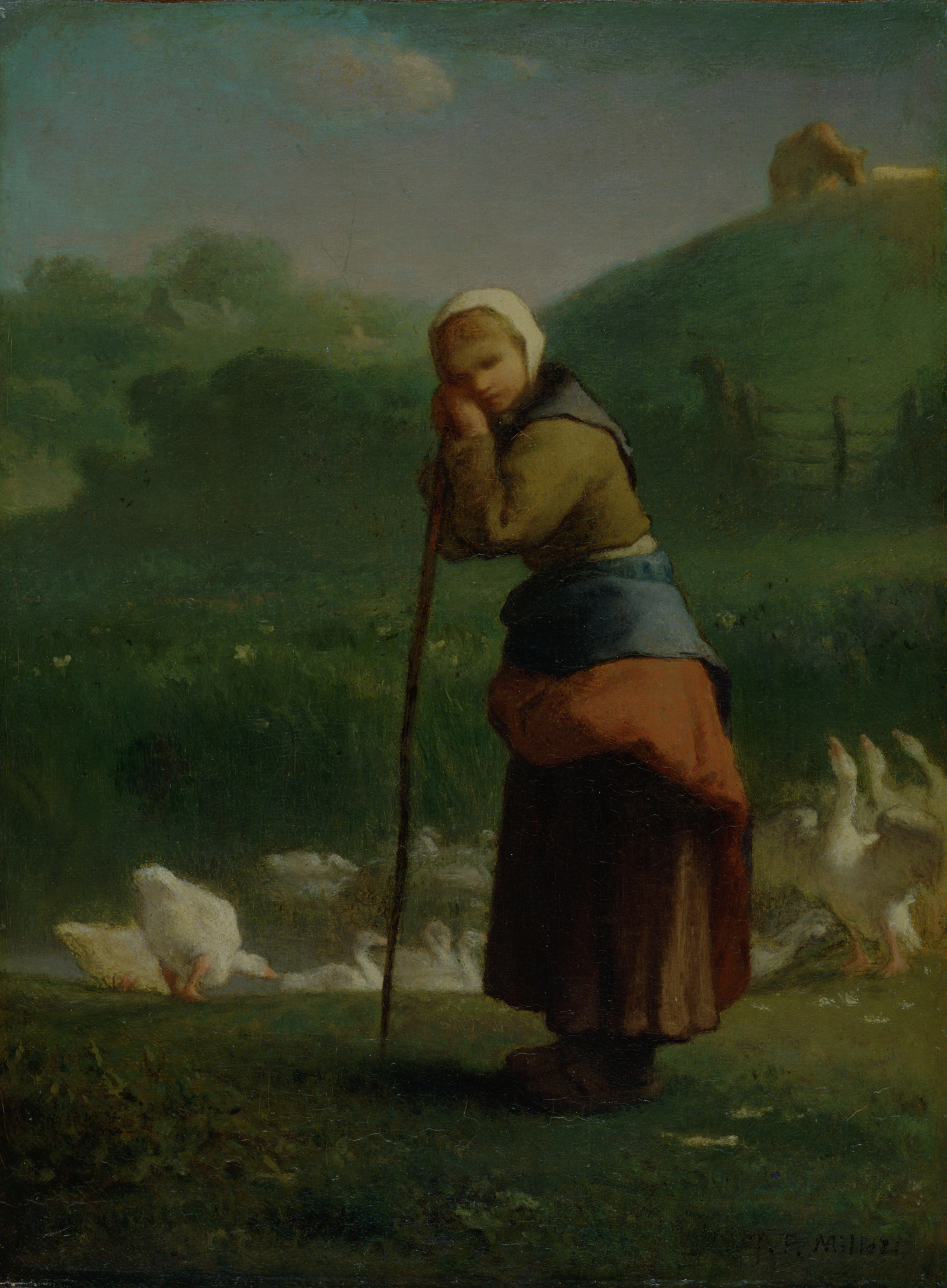 An image of artist Jean-Francois Millet's painting, titled 'The Goose Girl at Gruchy'