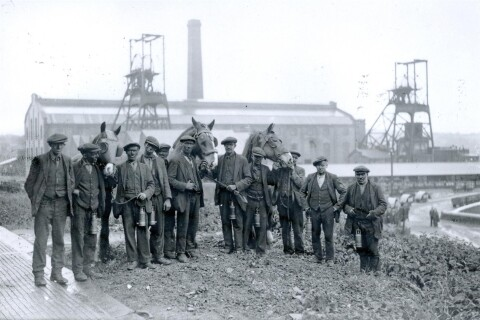 Horses and men at Penallta Colliery, 1930s