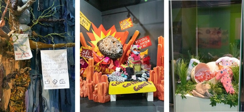 Three photographs fro the Dippy About Nature exhibition. All three are dioramas made from recycled clothing. On the left is a tree, in the middle a meteorite impact and on the right baby dinosaurs hatching from eggs.