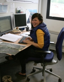 Katherine Voyle, Geologist in her office