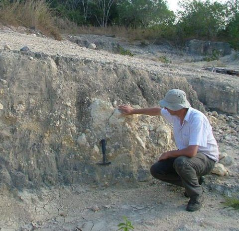 Sampling ancient mud cores in Tanzania