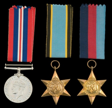 Sgt Evans' medals (from left to right): The War Medal, The Air Crew Europe Star, The 1939-1945 Star