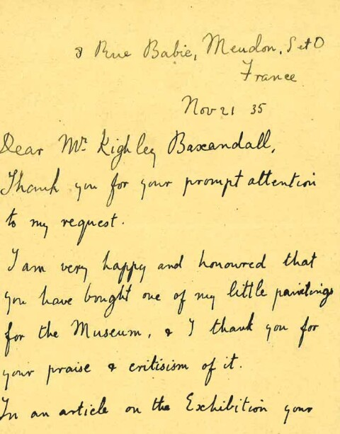 Letter from Gwen John to David Kighley Baxandall, Assistant Keeper of Art, 21/11/1935