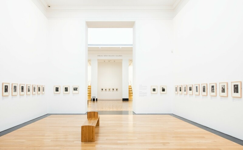 A photograph of the ARTIST ROOMS: August Sander exhibition, showing the entire gallery from the entrance